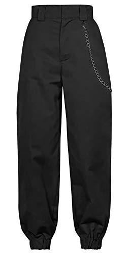 FEOYA Streetstyle Classic Jogger Pants Harem Pants Slacks Sweatpants Loose Comfortable Fabric High-Waisted Design for Woman -