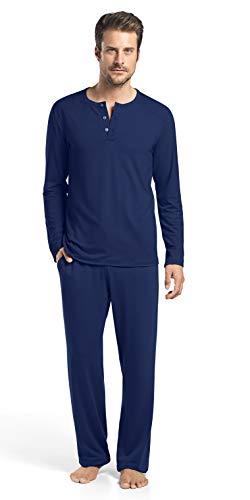 HANRO Men's Harrison Long Sleeve Shirt 75642, Night XX-Large ()