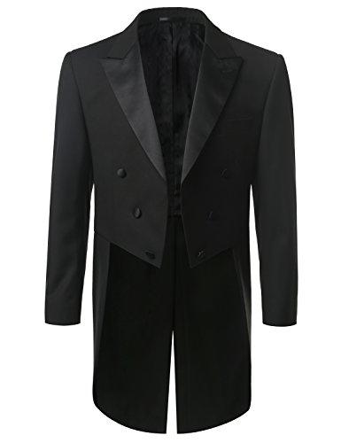 MONDAYSUIT Mens Full Dress Tuxedo Black Tails Coat Tuxedo & Trousers 2 Piece Set