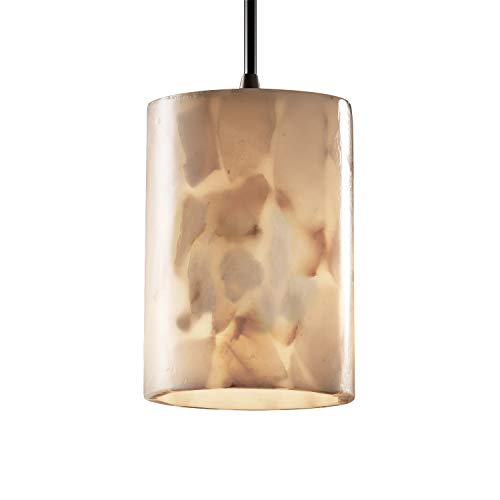 Justice Design Fan - Justice Design Group Alabaster Rocks! 1-Light Pendant - Dark Bronze Finish with Shaved Alabaster Rocks Cast Into Resin Shade