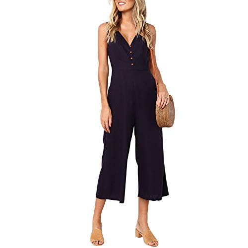 ECHOINE Womens Jumpsuit Rompers Button Deep V Neck Sleeveless High Waist Wide Leg One Pieces Outfits with Pockets