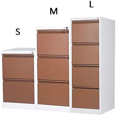 ファイルキャビネット 完全に組み立てられた盗難防止ロック付き大容量プッシュプル引き出しモバイル鉄ファイルキャビネット 机の整理整頓 (色 : 褐色, Size : S)