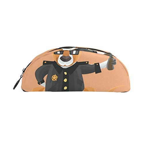 (Pencil Case Kangaroo As Cop On Peach Background School Pen Pouch Office Zippered Makeup Bag)