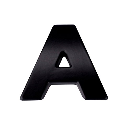 Boddenly A-Z Car Sticker 1PC 3D DIY Metallic Alphabet Bumper Motorcycle Sticker Wall Window Sticker Laptop Emblem Letter Badge Decal Black 0.98x0.87x0.12'' (A)