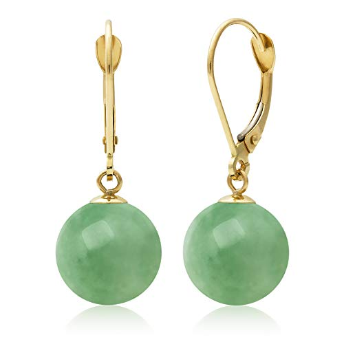 Earring Jade Ring (14k Yellow Gold Natural Green Jade Drop Dangle Leverback Earrings)