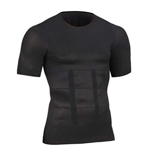 Owen Moll Men's Shapers Slimming Waist Shirts Abdomen Trimmer Compression Vest for Workout Weight Loss Black (Chest Workout To Get Rid Of Moobs)