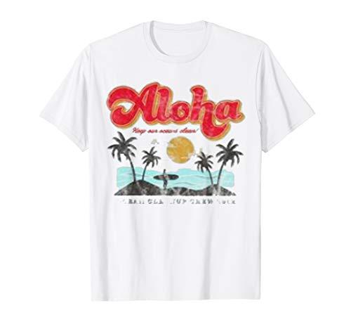 Cute Aloha Hawaii Vintage T-Shirt Hawaiian Beach ()