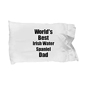 Irish Water Spaniel Dad Pillowcase Worlds Best Dog Lover Funny Gift for Pet Owner Pillow Cover Case Set Standard Size 20x30 3