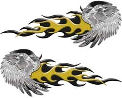 (Eagle Wing Flame Graphics in Yellow - 7