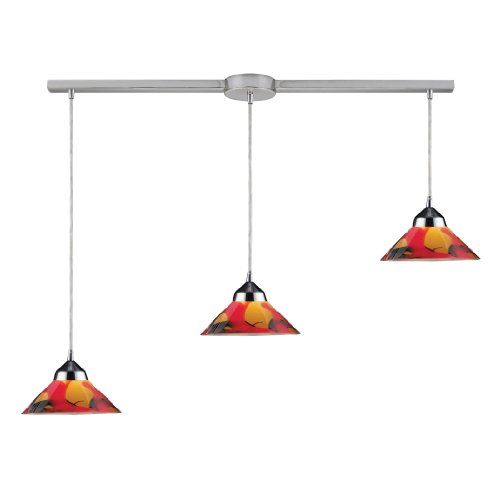 Elk 1477/3L-JAS 3-Light Pendant In Polished Chrome And Jasper Glass ()
