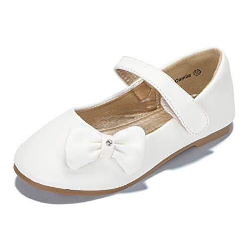 PANDANINJIA Toddler/Little Kids Camila Wedding Party White Ballet Flower Mary Jane Girls Flats Dress Shoes ()