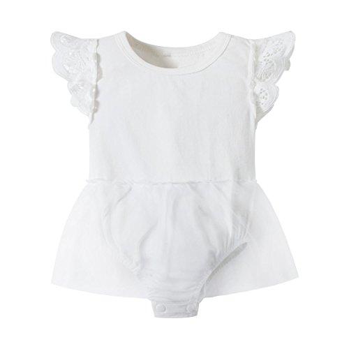 Huata Baby Girls Onesies Bodysuit Baby Romper (White Tutu, 12-18 (Tutu Cute Onesie)