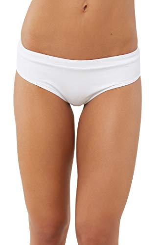 O'Neill Women's Solid Banded Hipster Bikini Swimsuit Bottom (White, L)
