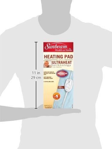 Sunbeam Pad Pain Standard Size UltraHeat, Heat Settings Auto-Shutoff | Light 12-Inch