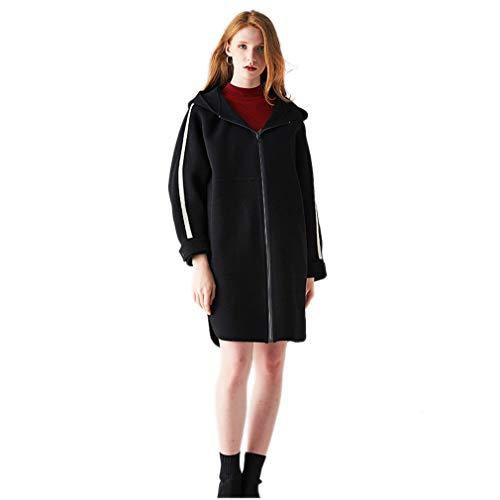Cashmere Campeggio Capispalla alta Per Qualità In Femminile Allentato moda casual Black Donna Cappotto Double party Face 5WpWO1