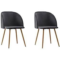 2 Piece Mid-Century Velvet Accent Living Room Chair Upholstered Club Dining Chair (Dark Grey)