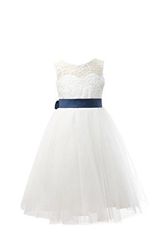 Miama Ivory Lace Tulle Wedding Flower Girl Dress Junior Bridesmaid Dress