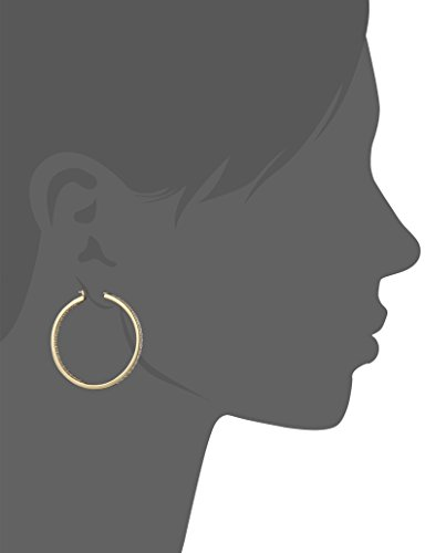 "Platinum or Gold Plated Sterling Silver Swarovski Zirconia Round Cut Hoop Earrings, 1.5"" Diameter"