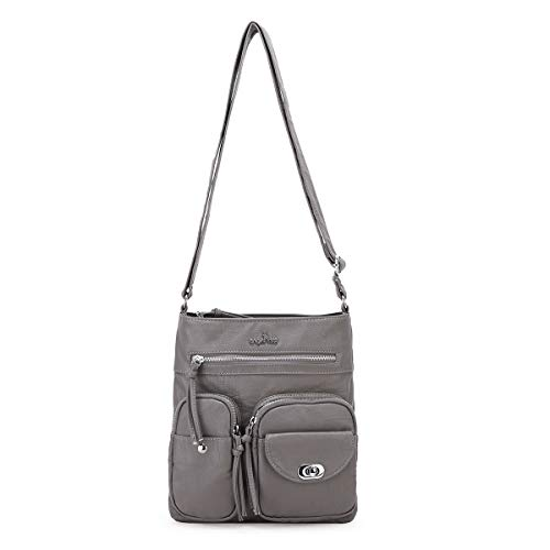 Angelkiss Women's Leather Crossbody Purse and Wallet Cute Small Over the Shoulder Handbags Crossover Cross Body Satchel Bags with Zip Pockets Grey, Medium - Fabric Over Leather