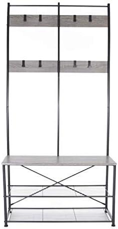 BELLEZE 70 Industrial Bench Hall Tree Entryway Storage Shelf Coat Rack Metal Frame, Stone Gray