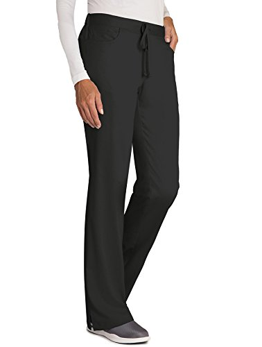 Grey's Anatomy Women's Junior Fit Elastic Back 5 Pocket Drawstring Scrub Pant, Black, - Scrub Pants Elastic Back