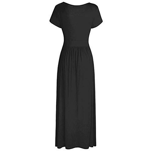 Respctful✿Women Summer Dress Short Sleeve Striped Chiffon Maxi Dresses Sexy V Neck Evening Cocktail Party Long Dress Black by Respctful Women's Clothing (Image #4)