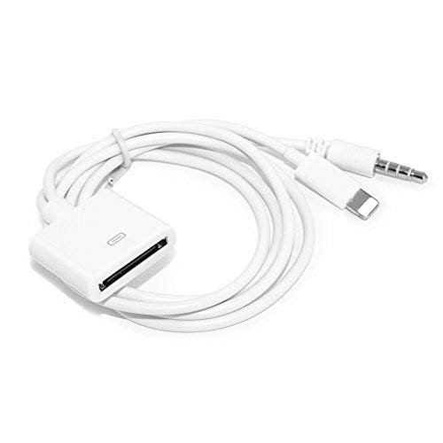 30 Pin Adapter   8 Pin Male to 30 Pin Female   Works with Smartphones, Cars, Docking Stations and More White- 20cm (Ipod Dock Lightning Adapter)