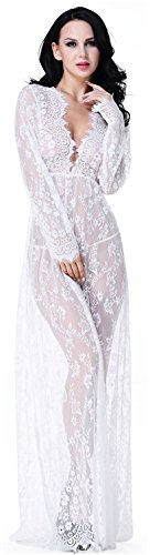 Women's Sexy Lace Babydoll Nightwear Long Gown Lace Beach Dress Swimsuit Bikini Cover Up White