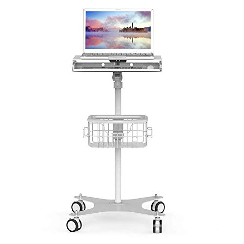 (XUEXUE Laptop, Floor Roller Notebook Stand Medical Care Side Mobile Cart with Storage Basket Stopper Ledge Computer Work Station Home Office Student Dorm)