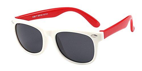 BOZEVON Unisexe Wayfarer Polarisées Lunettes de Soleil pour Enfants Garçons Filles Monture en caoutchouc flexible Sport Lunettes Blanc/Rouge