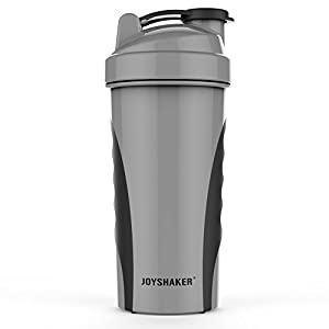 Joyshaker Shaker Bottle for Protein Mixes, Leak Proof Guarantee BPA and Phthalate-Free Plastic Wide Mouth Gyms Sports Shaker Cup With Mixer 28oz (Gray)