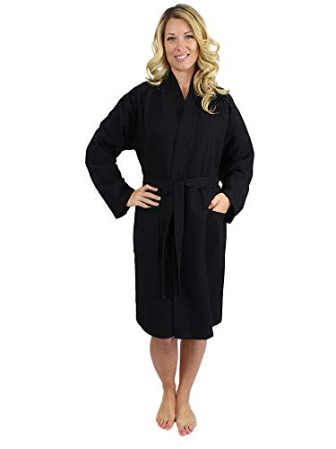 Premium Turkish Cotton Waffle Weave Lightweight Kimono Spa Bathrobe for Women (Black, Small) ()