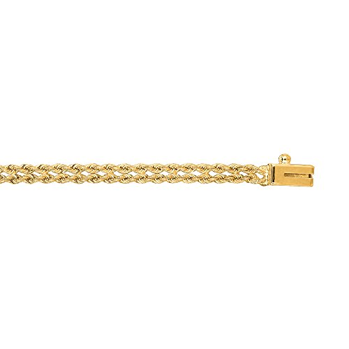 (IcedTime 14K Yellow Gold 3mm wide Two-Strands Multi Line Rope 7