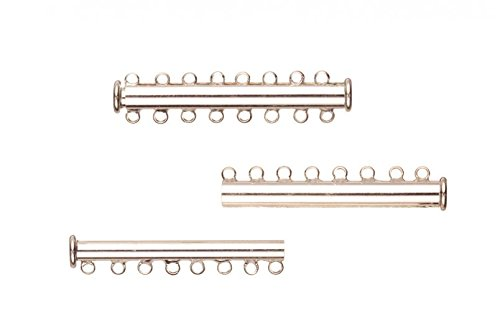 8-Strand Tube Slide Lock Jewelry Clasp-Silver Plated 10x5mm 4pcs