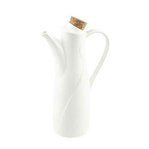 Ceramic Olive (Oil Dispenser Bottle, 8.45 OZ (250 ML), 77L Ceramic Tabletop Olive Oil Dispenser Bottle - Soy Sauce or Vinegar Cruet with Pourer - Modern White Ceramic Dinner Liquid Condiment Dispenser)