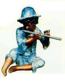 Diseño de niño jugando Flauta azul verkleinert 55cm para exterior de polirresina