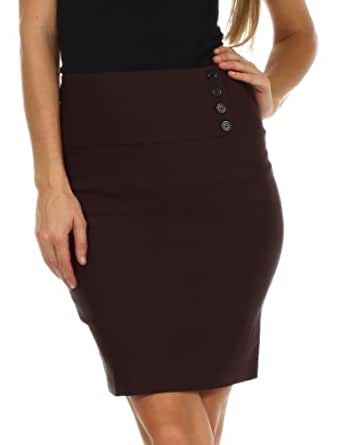 LSHipButton2621 Above the Knee Stretch Pencil Skirt with Four Button Detail - Brown / S