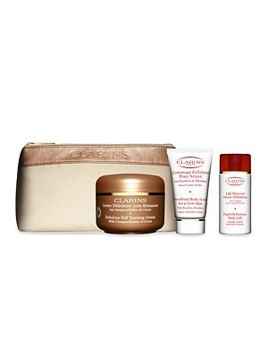 CLARINS Paris Smart Self Tanning for a heathy SUMMER Glow : Delicious Self Tanning Cream 125ml with unsaponifiables of cocoa + Smoothing BODY Scrub for new skin 30ml +High Definition Body Lift 30ml + SUMMER beauty Purse