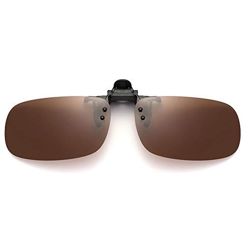 SUNINC Clip On Sunglasses Over Prescription Glasses Polarized Lens Flip Up Shades Driving Sunglasses for Men Women Brown Lens Small Size