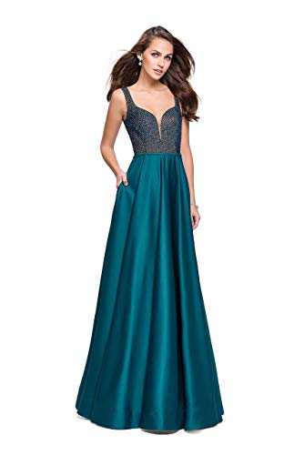 (La Femme 25348 Sleeveless Crystal Crusted Plunging Satin Gown in Hunter Green)