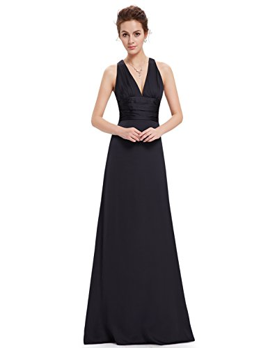 Ever Pretty Trailing V-neck Ruffles Cross Back Evening Party Dress 09008