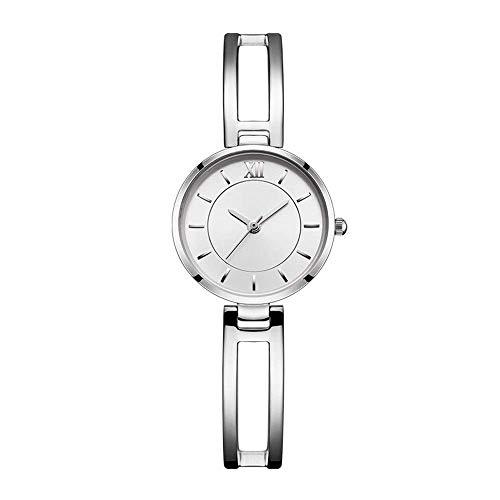 BEWITCHYU Practical Wristwatches Silver Rose Women 's Simple Hollow Ultra-Thin 8Mm Quartz Watch 35Mm Solid Steel Belt Casual Decorative Watch BraceletSilver