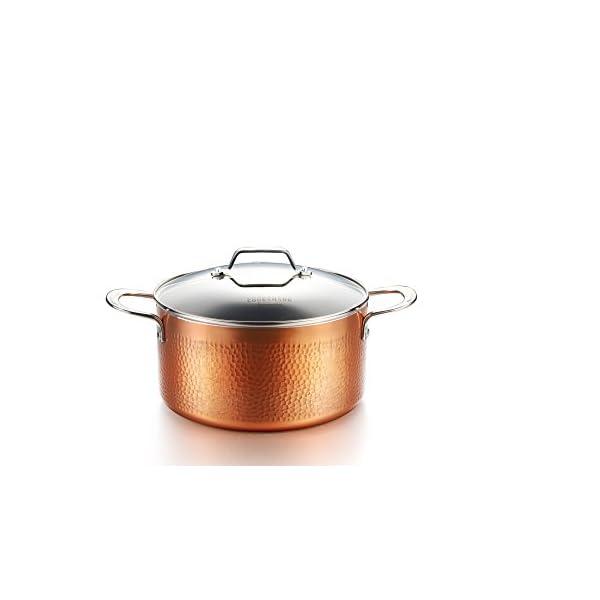 COOKSMARK 10 Piece Hammered Copper Cookware Set with Nonstick Coating, Induction Pots and Pans Set Dishwasher Safe 4