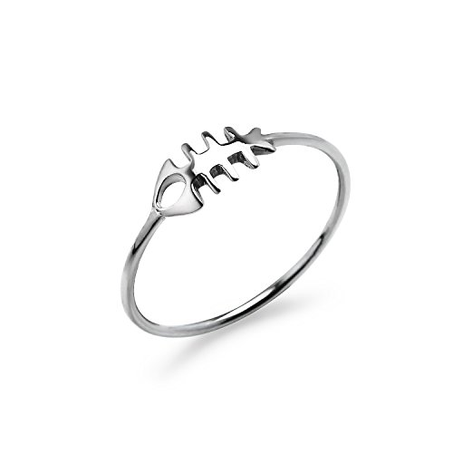 (Fishbone Fossil Sterling Silver Round Band Ring, Charm Friendship Promise Ring Size 6)