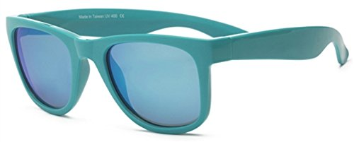 Real Shades Wave Runner Sunglasses for Adults - 100% UVA UVB Protection, Polycarbonate Revo Lenses, Unbreakable, Flex Fit, Iconic 80s Style (Blue White/Blue White Revo - Kid Baby Sunglasses 80s