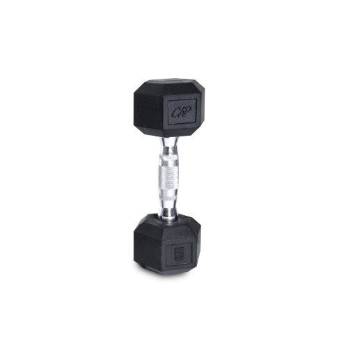 CAP Barbell Single Rubber Coated Hex Dumbbell with Contoured Chrome Handle, 110-Pound