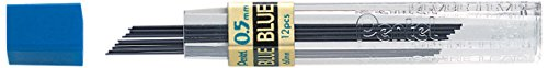- Pentel Coloured Leads, 0.5mm, Grade HB, Blue Colour, 1 Pack of 12 Leads (12 Leads per Tube)