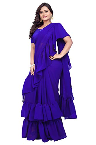 Jaanvi fashion Women's Ruffle Georgette Saree (Frill-Saree-Ruffle-Royal-Blue)