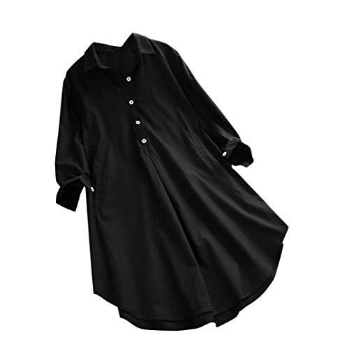 Taille Top Blouse Shirt col Angelof Noir Chic Tee Grande Officier Longues Femme Manches Chemises Vetement xU0C0S7wq