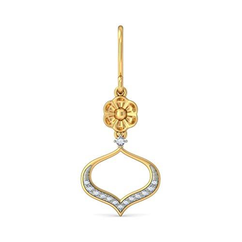 14 K Or jaune 0.17 CT TW White-diamond (IJ | SI) Pendants d'oreilles